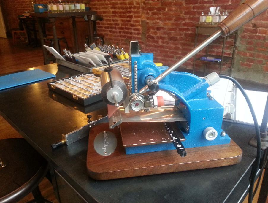 atelier cologne blue leather embossing monogramming machine